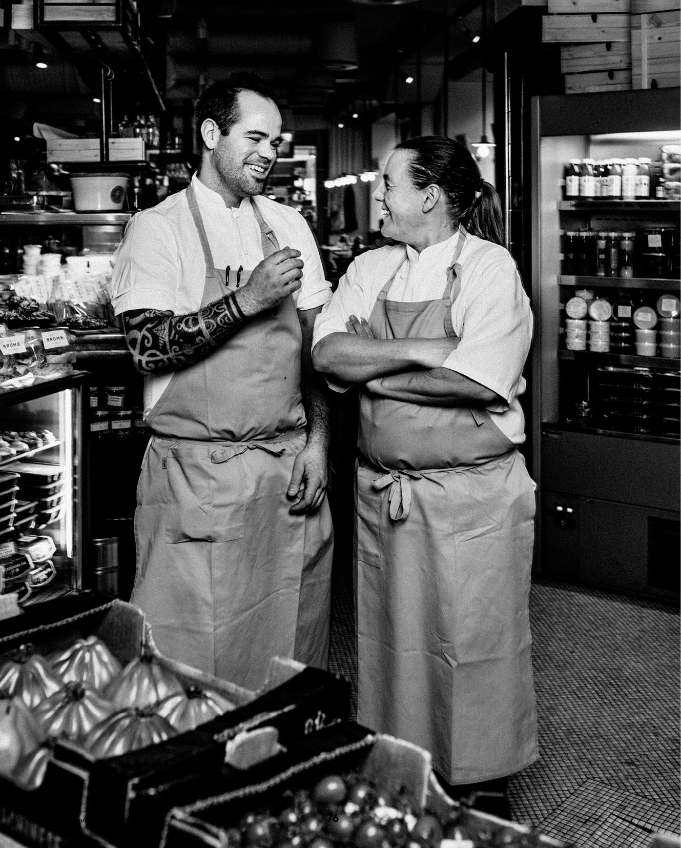 Köksmästare Richard Golser och Broms grundare Anna Broms Bauer.